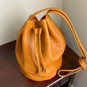 All leather caramel Baggu bucket bag